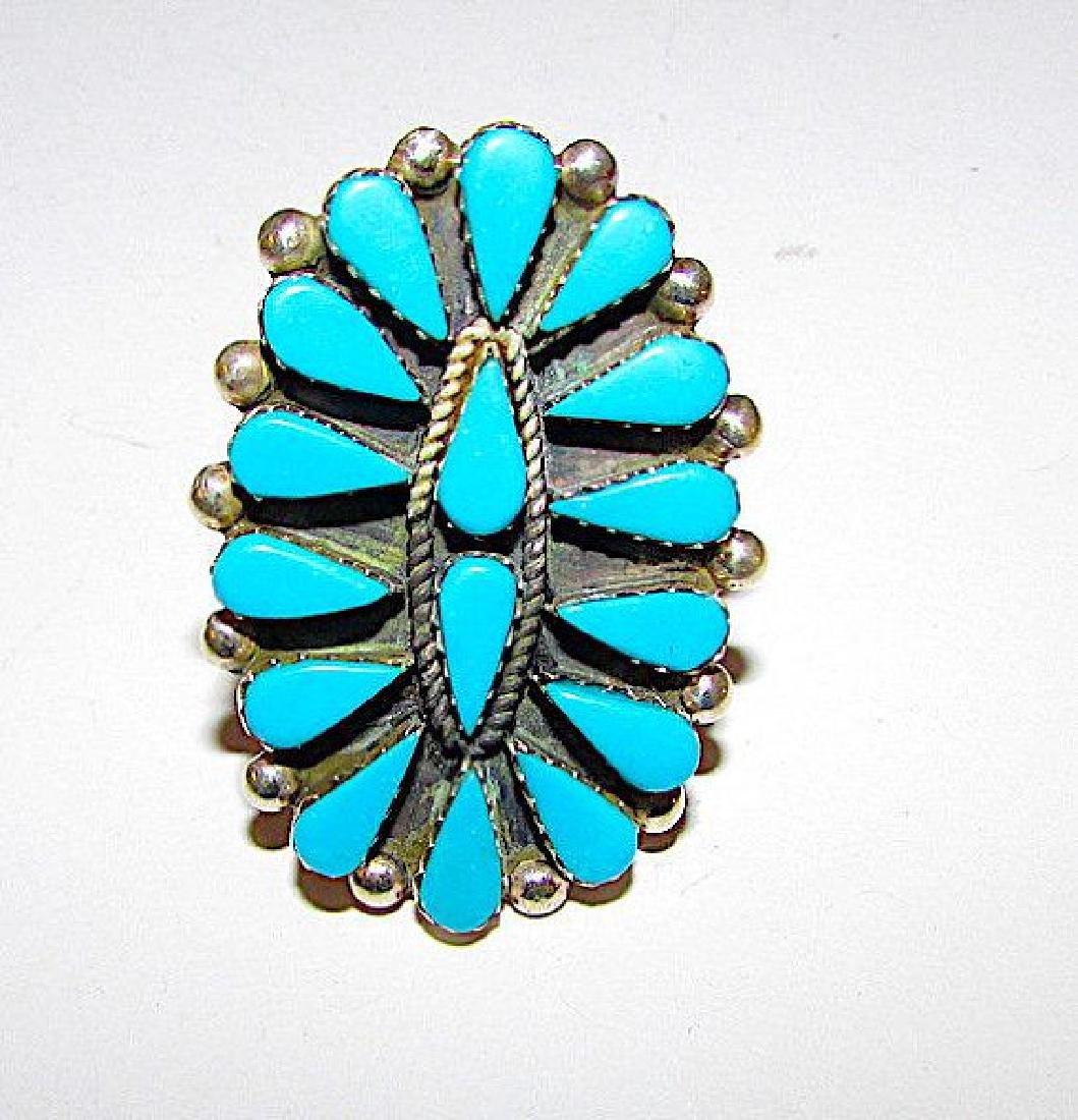 Zuni Sterling Silver Sleeping Beauty Turquoise Cluster