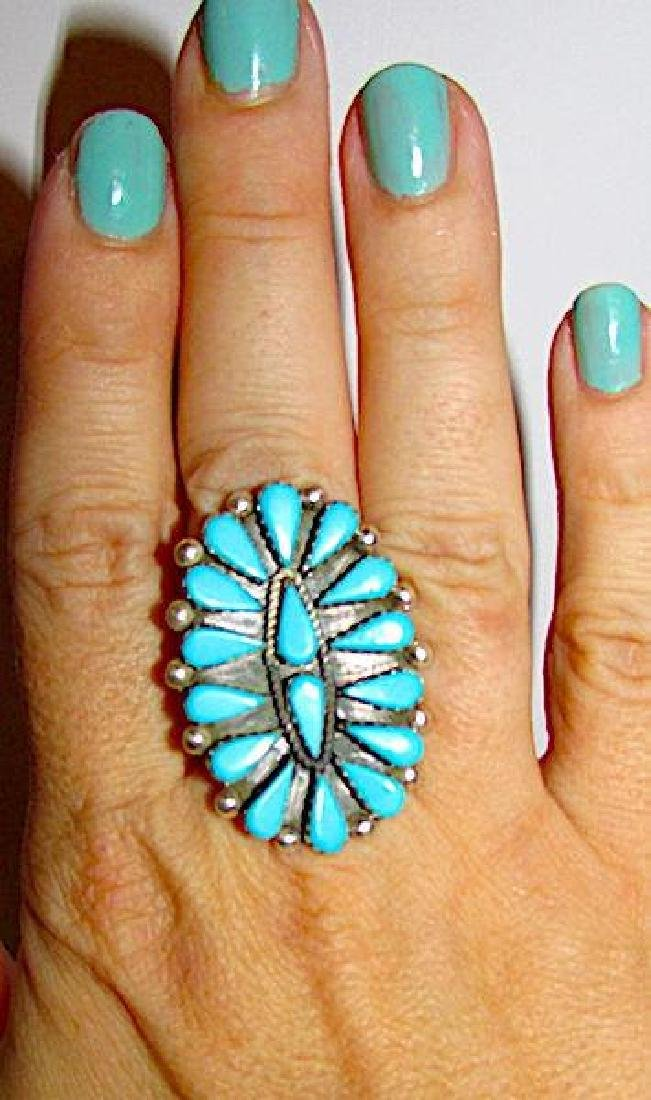 Zuni Sterling Silver Sleeping Beauty Turquoise Cluster - 3
