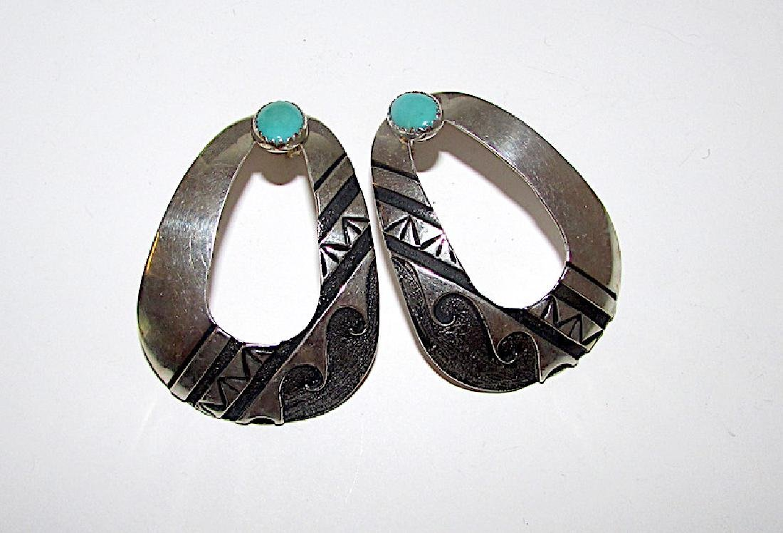 Navajo TOMMY SINGER Sterling Turquoise Earrings