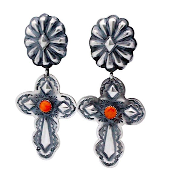 Navajo Sterling Silver Concho Cross Earrings