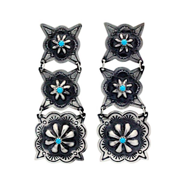 Navajo Sterling Turquoise Concho Earrings