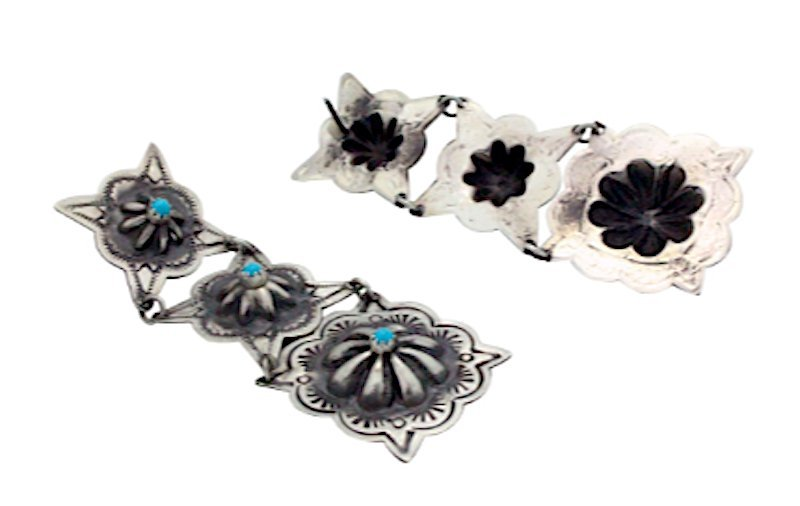 Navajo Sterling Turquoise Concho Earrings - 2