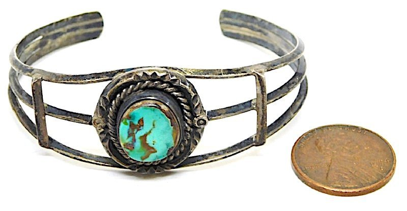 Old Pawn Navajo Sterling Turquoise Bracelet - 2