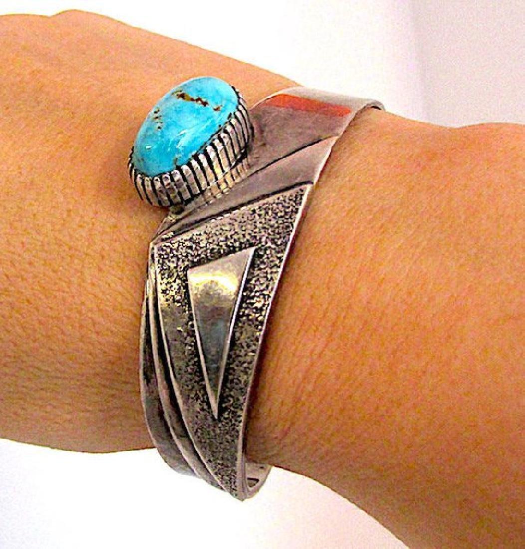 Native American Navajo Kingman Turquoise Sterling - 3