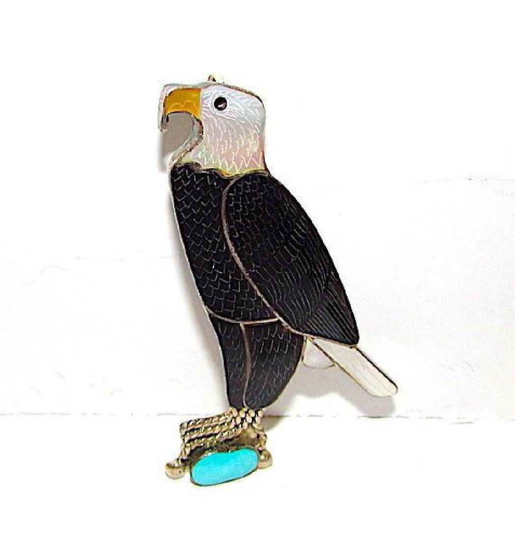 Zuni Sterling Silver Turquoise Jet Mother of Peal Eagle