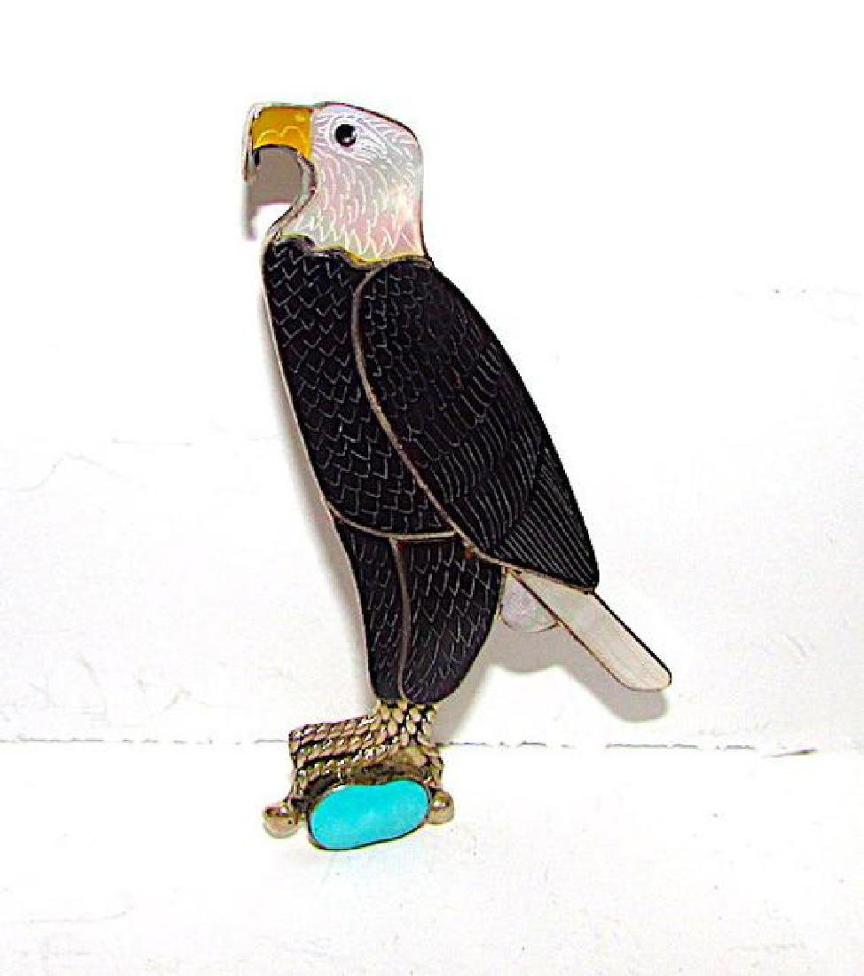 Zuni Sterling Silver Turquoise Jet Mother of Peal Eagle - 2