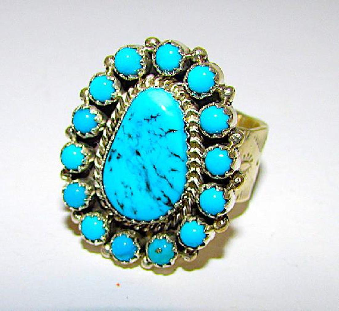 Navajo Sterling Silver Ring Size 8 Kingman Turquoise by