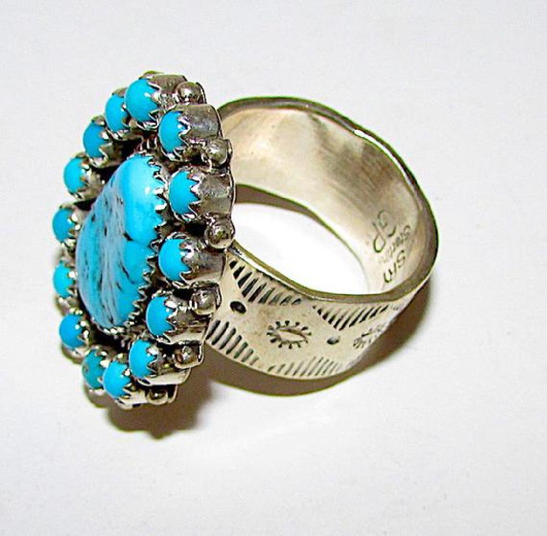 Navajo Sterling Silver Ring Size 8 Kingman Turquoise by - 2