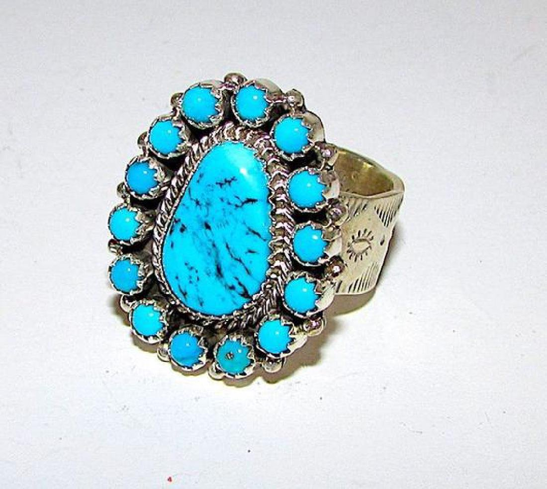 Navajo Sterling Silver Ring Size 8 Kingman Turquoise by - 3