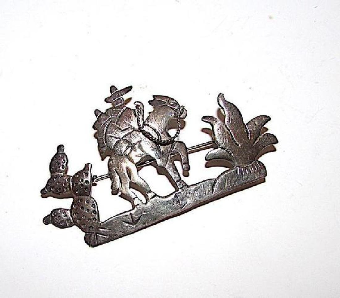TAXCO Sterling Silver 925 Mexican Cowboy Vaquero Donkey