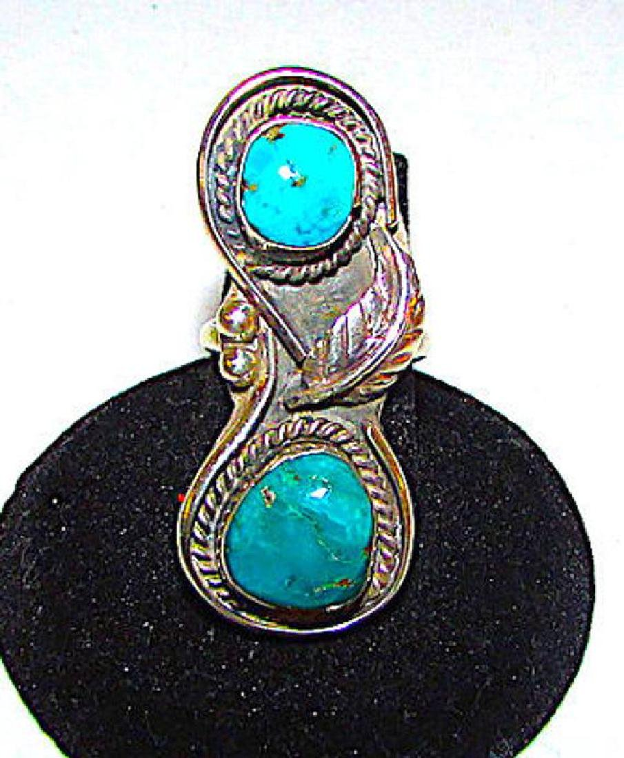 Old Pawn Navajo Sterling Silver Turquoise Statement