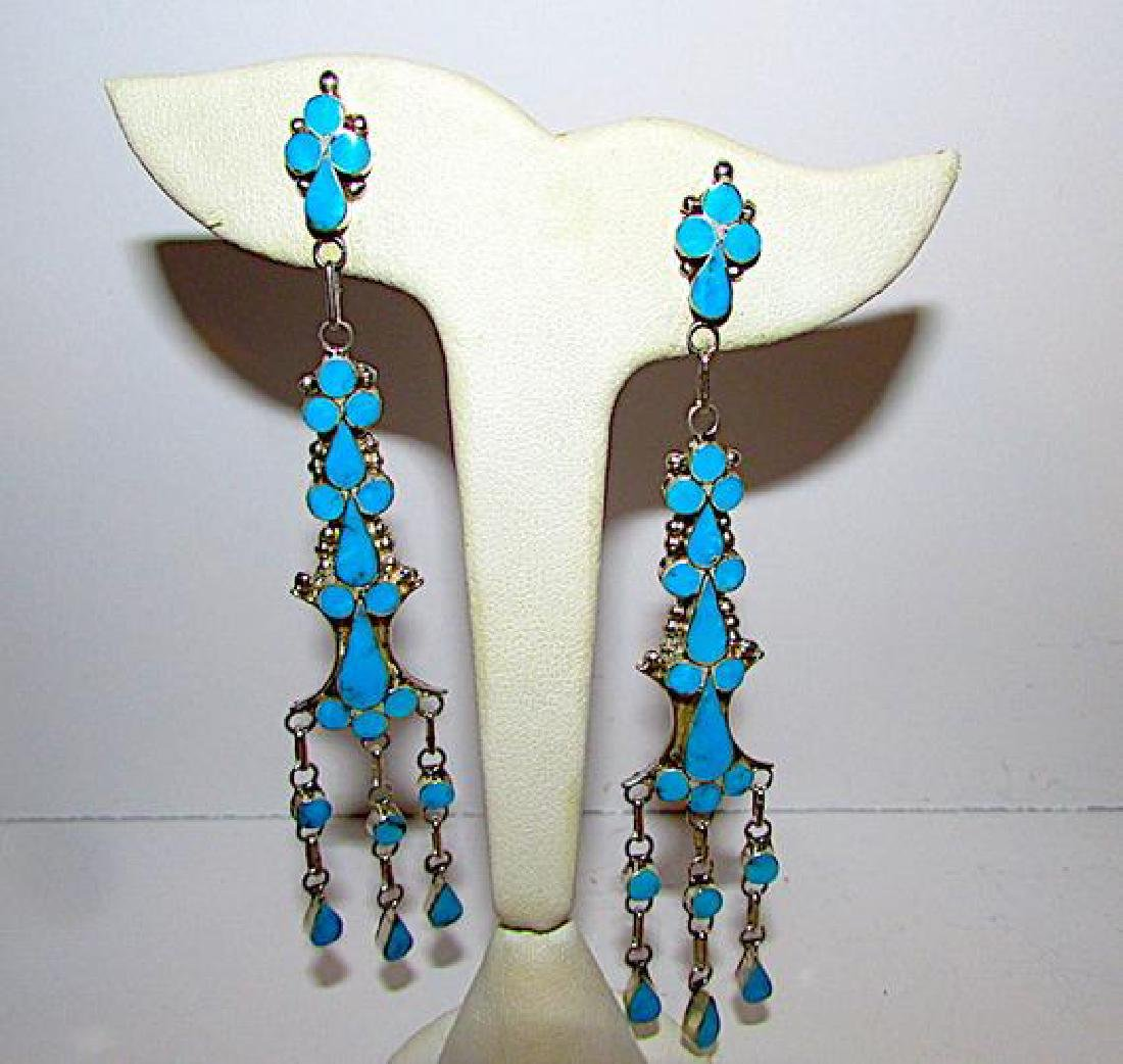 Old Pawn Zuni Sterling Silver Turquoise Inlay Dangle