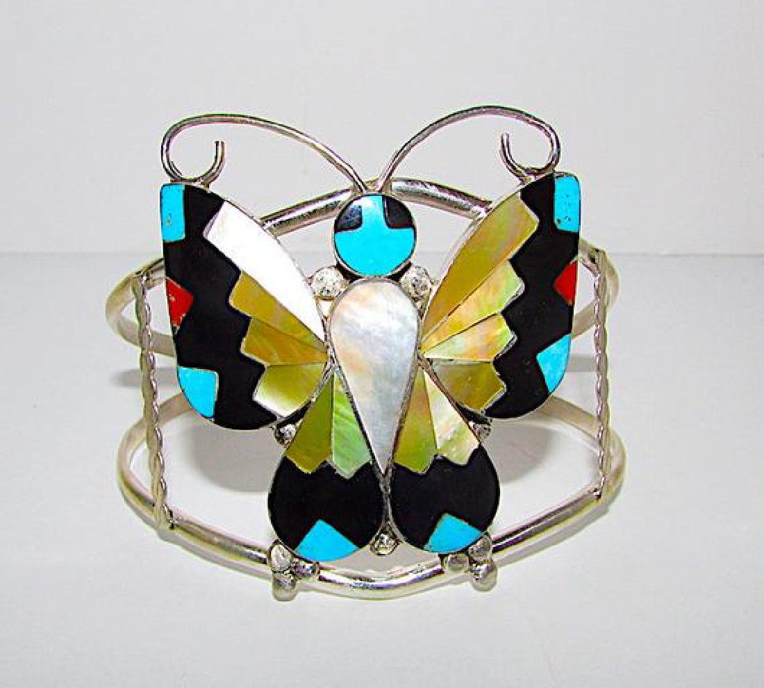Native American Zuni Butterfly Mosaic Inlay Cuff