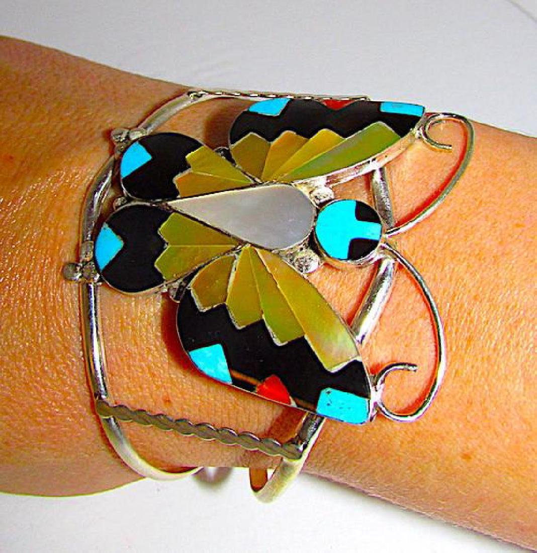Native American Zuni Butterfly Mosaic Inlay Cuff - 3