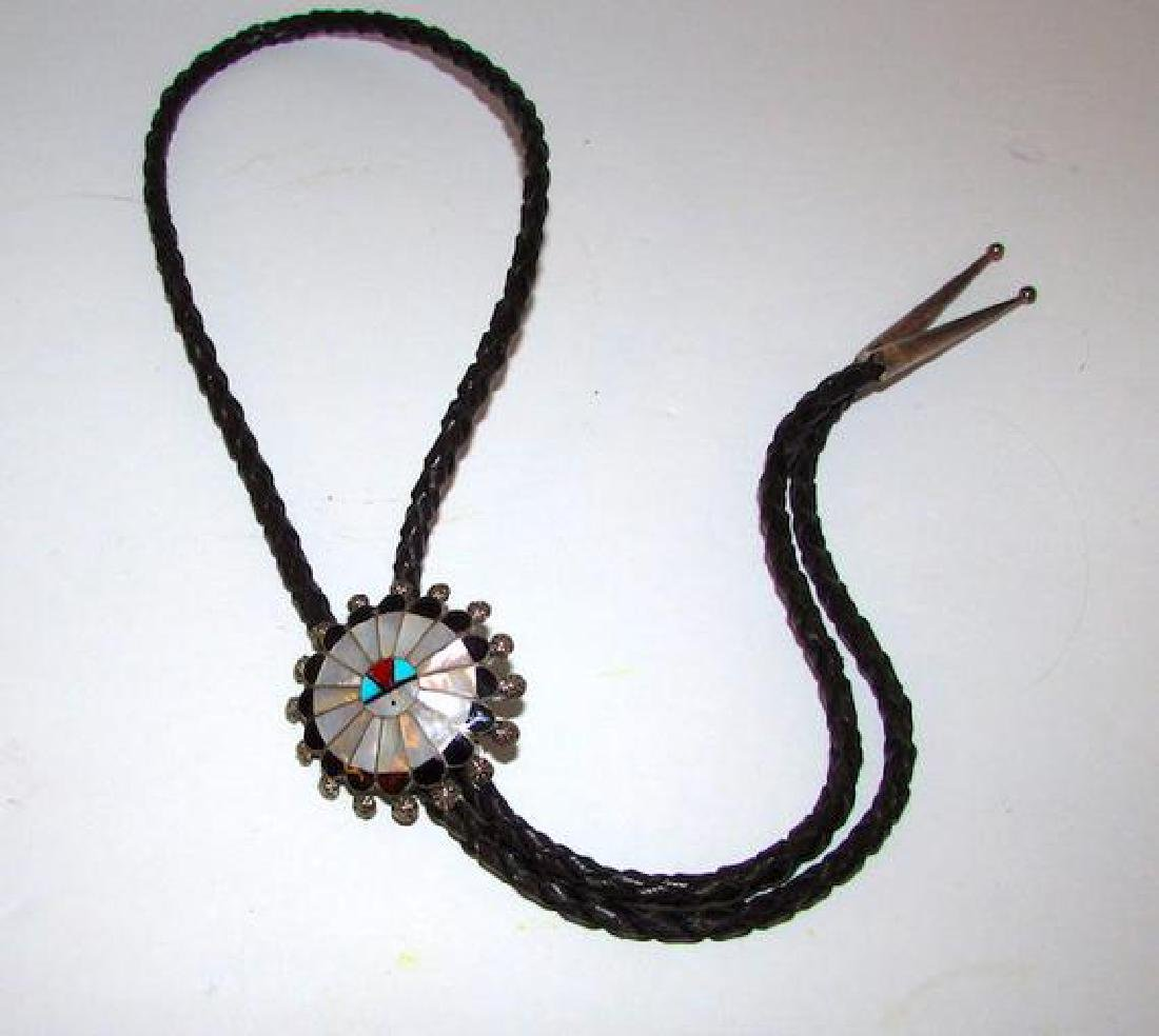Zuni Sunface Bolo Tie Sterling Silver Turquoise Coral