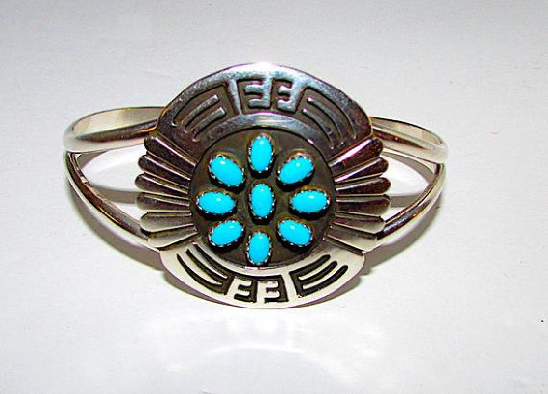 Native American Navajo Sterling Silver Turquoise - 3