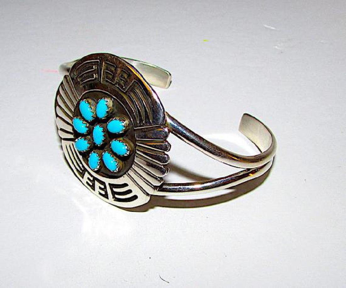 Native American Navajo Sterling Silver Turquoise - 4