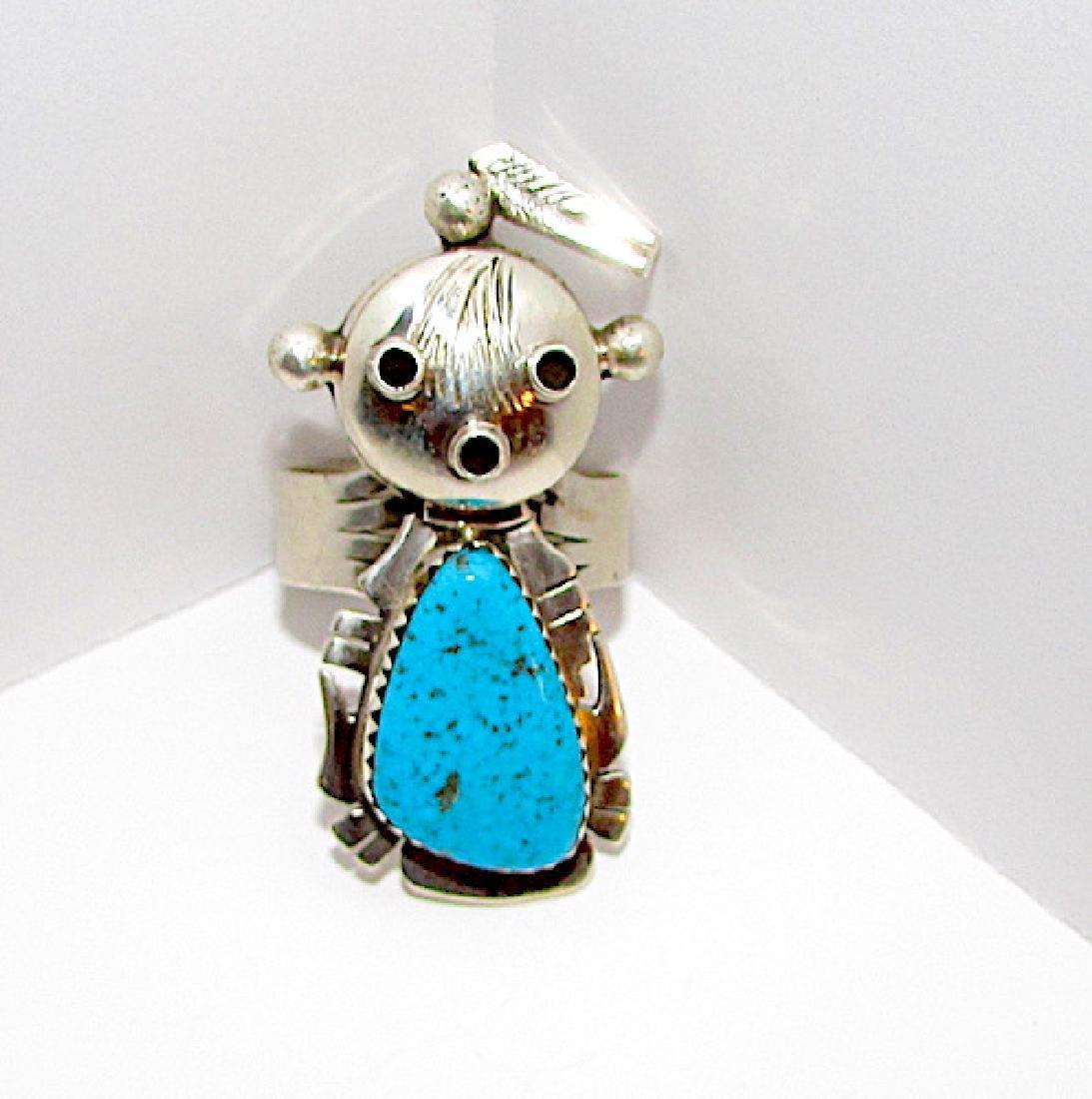 Navajo Nelson Morgan Sterling Turquoise Mudhead Kachina