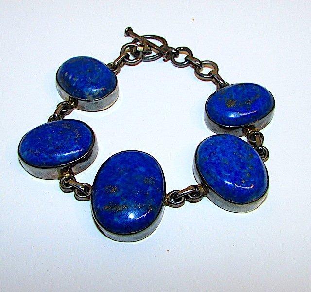 Mexican 925 Silver Lapis Lazuli Bracelet