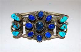 Old Pawn Navajo Sterling Turquoise Lapis Bracelet