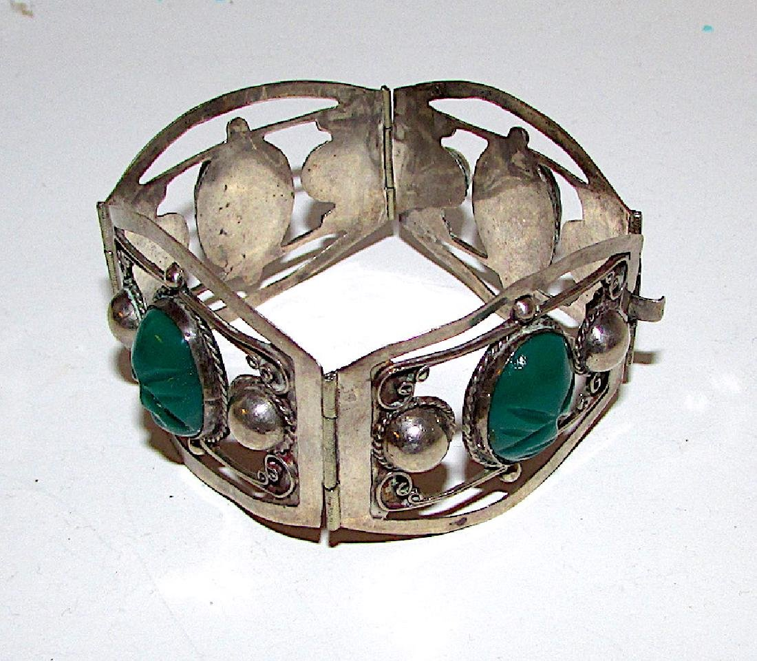 Taxco Mexican 925 Silver Pre-Eagle Bracelet Green Onyx