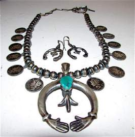 Navajo Sterling Silver Green Morenci Turquoise Squash