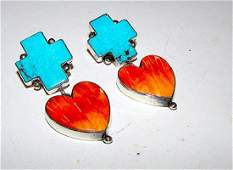 Navajo Earrings Sterling Silver Turquoise Cross Orange