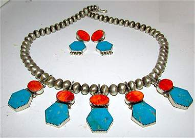 Navajo Selena Warner Turquoise Spiny Oyster Set