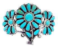 Navajo Sterling Turquoise Flower Bracelet