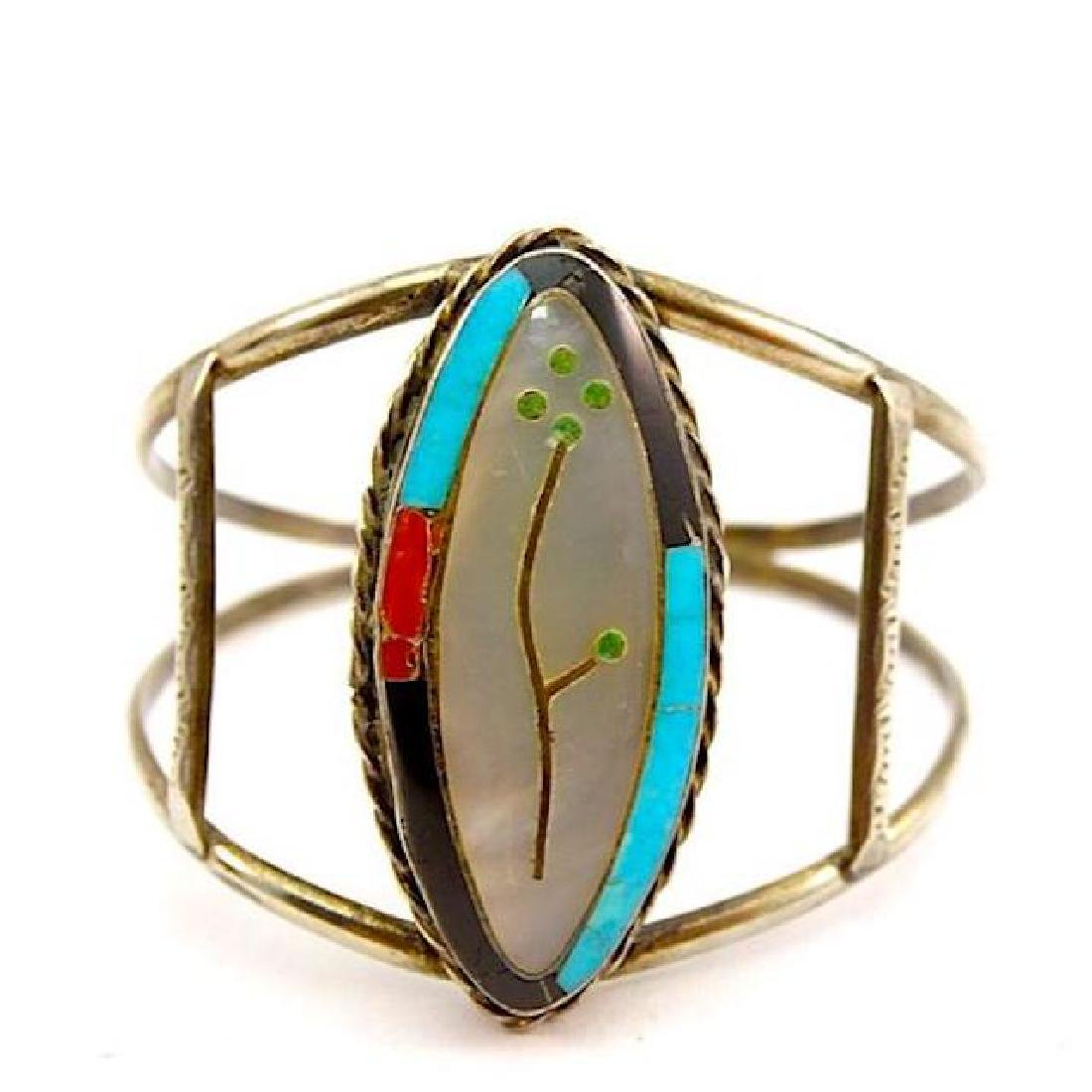 Zuni Sterling Silver Turquoise Coral Mother Of Pearl