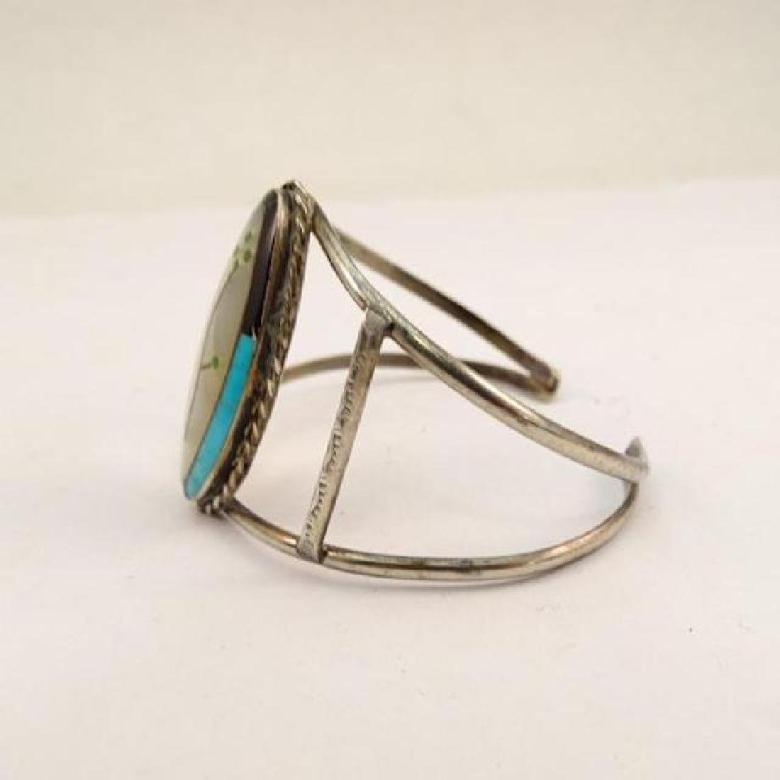 Zuni Sterling Silver Turquoise Coral Mother Of Pearl - 2