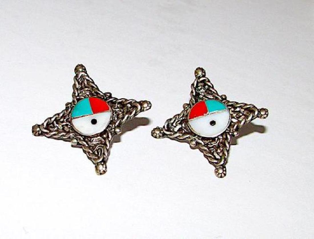 Old Pawn Native American Zuni Sterling Silver Turquoise