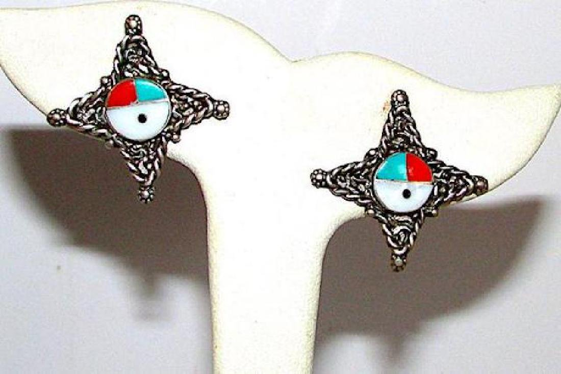 Old Pawn Native American Zuni Sterling Silver Turquoise - 3