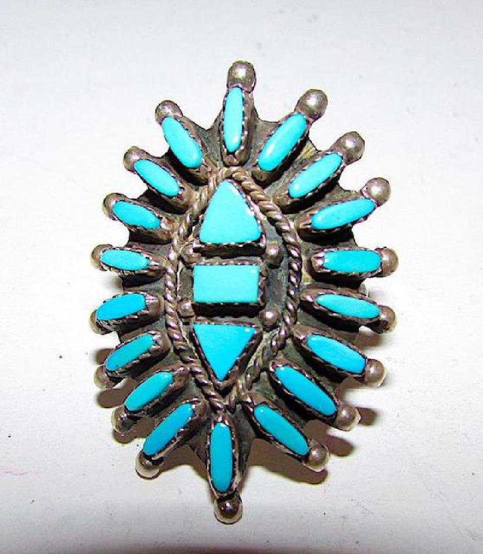 Zuni Sterling Silver Turquoise Cluster Ring Size 9