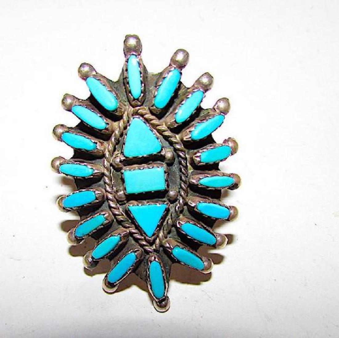 Zuni Sterling Silver Turquoise Cluster Ring Size 9 - 2
