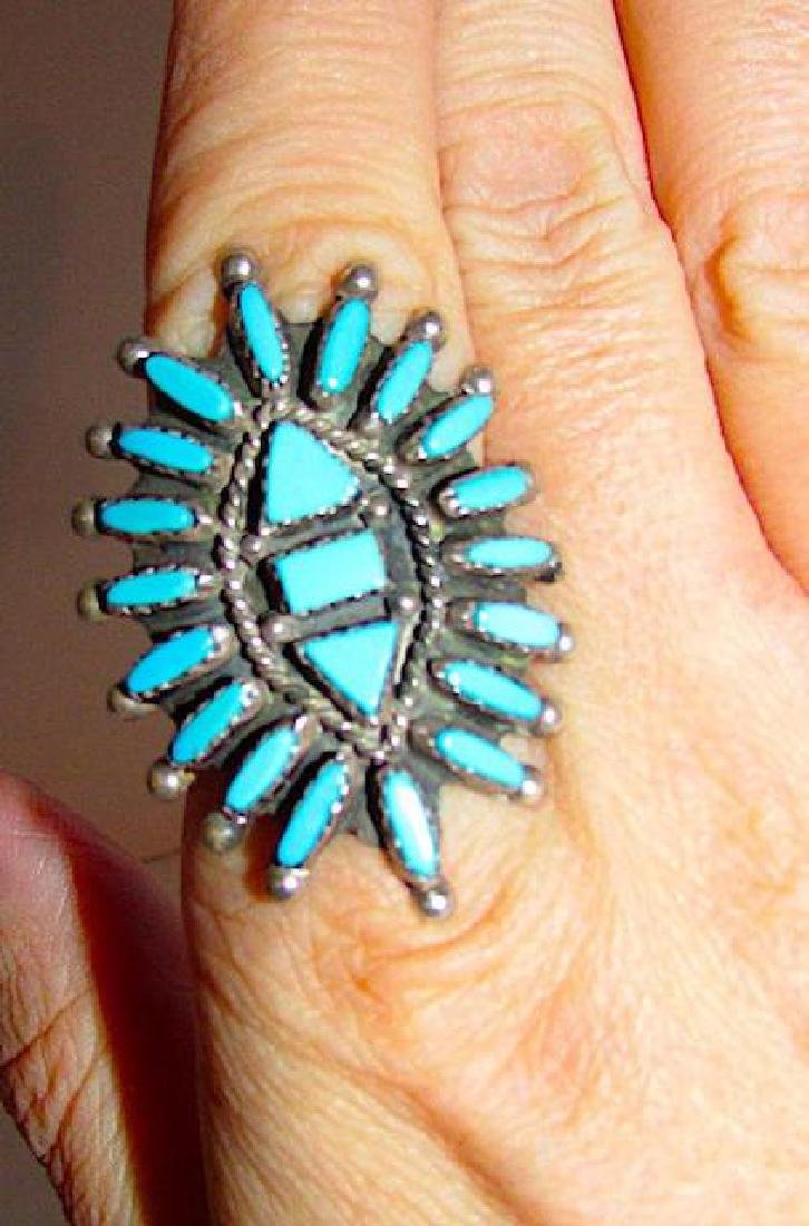Zuni Sterling Silver Turquoise Cluster Ring Size 9 - 3