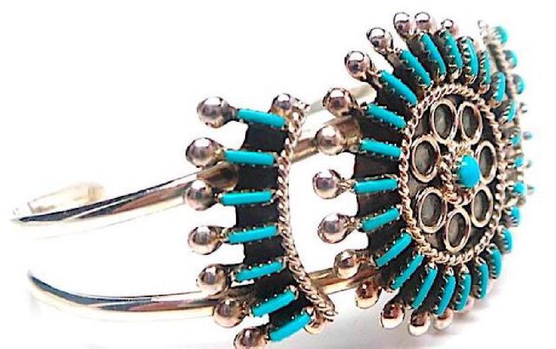 Zuni Sterling Silver Turquoise Cluster Rosette Cuff - 2