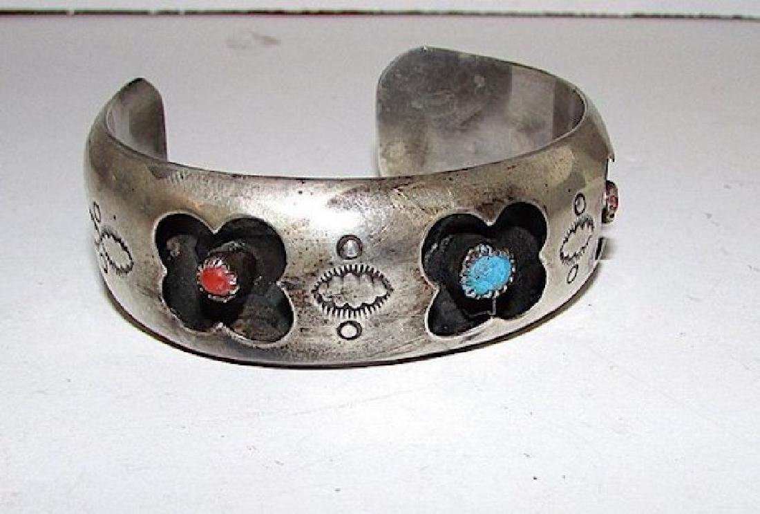 Navajo Sterling Silver Turquoise Coral Cuff Bracelet