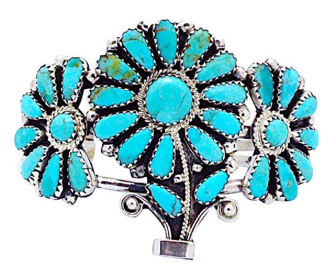 Vintage Navajo Sterling Flower Bracelet