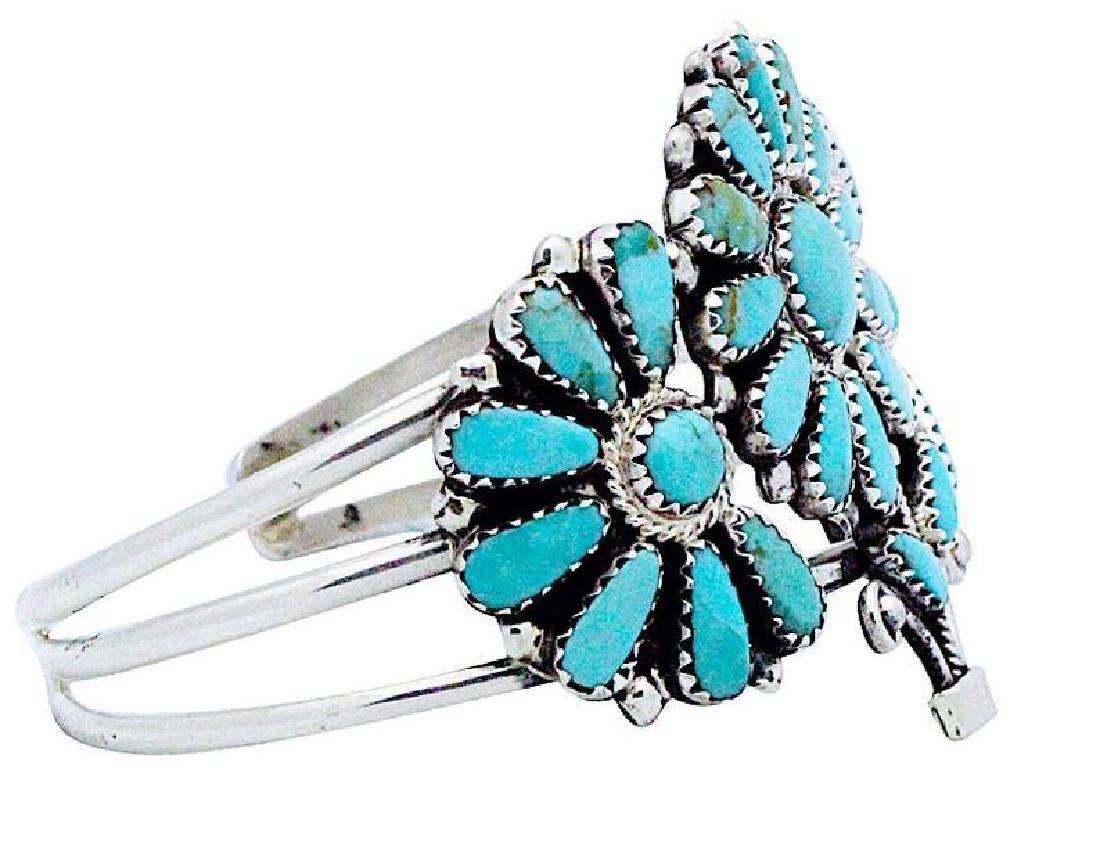 Vintage Navajo Sterling Flower Bracelet - 2