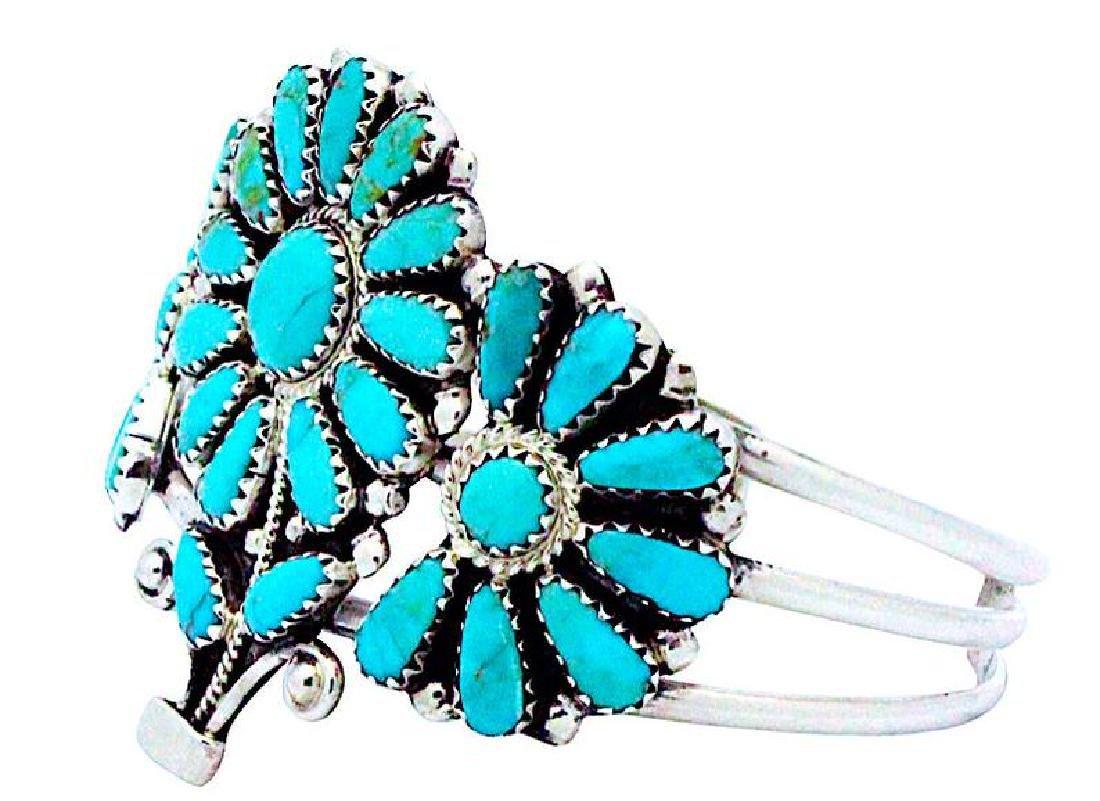 Vintage Navajo Sterling Flower Bracelet - 4