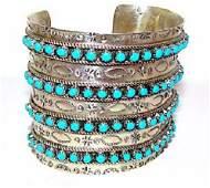 Vintage Zuni Sterling Silver Snake Eye Cuff Bracelet