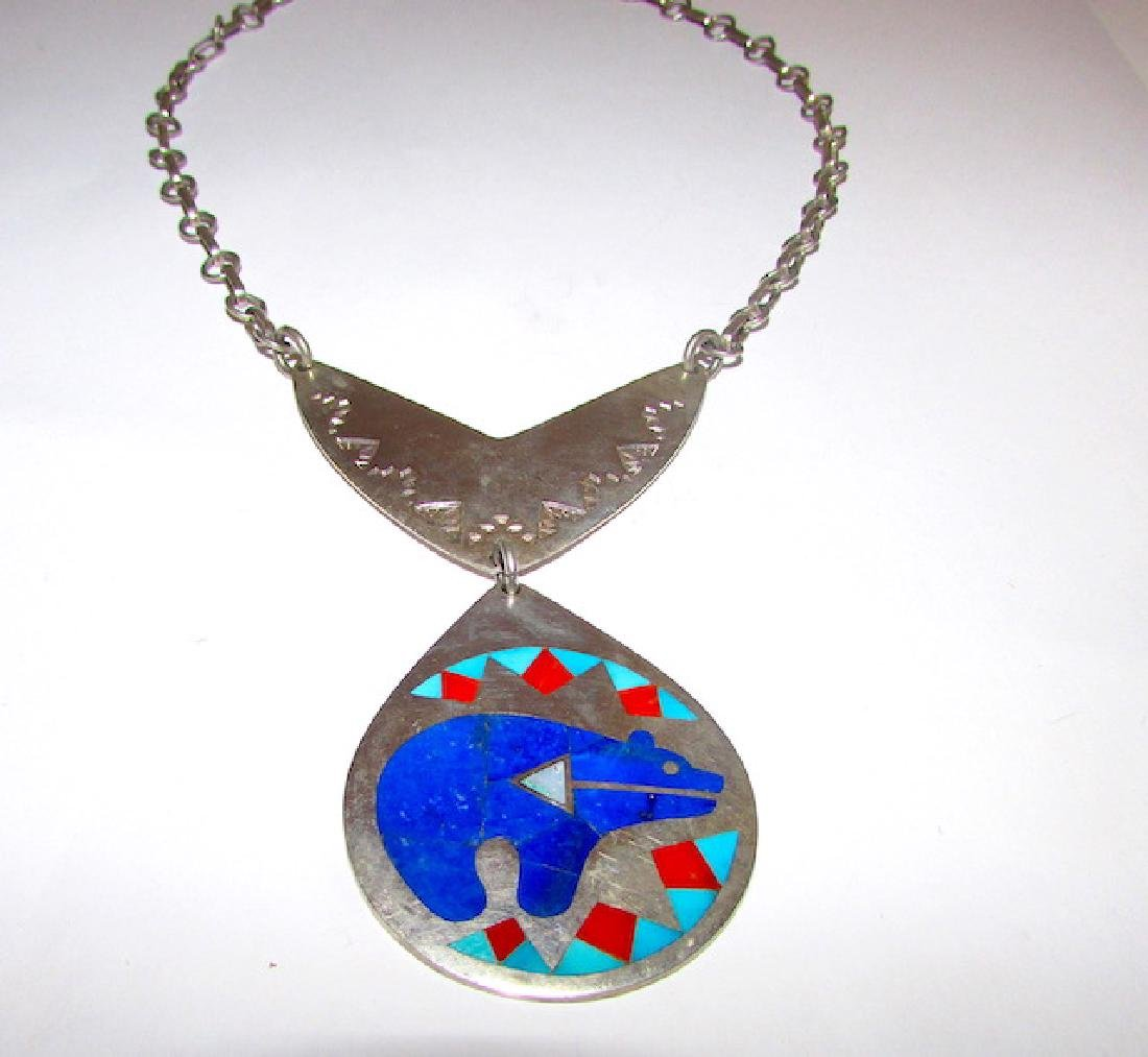Zuni Nancy Ruddell Leconsello Bear Necklace