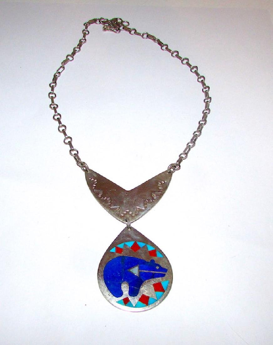 Zuni Nancy Ruddell Leconsello Bear Necklace - 2