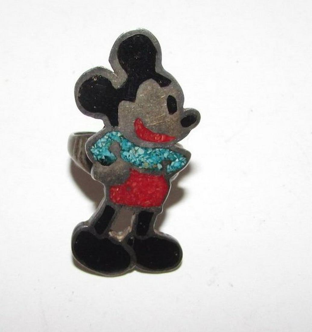 Rare Vintage Mickey Mouse Navajo Ring Native American