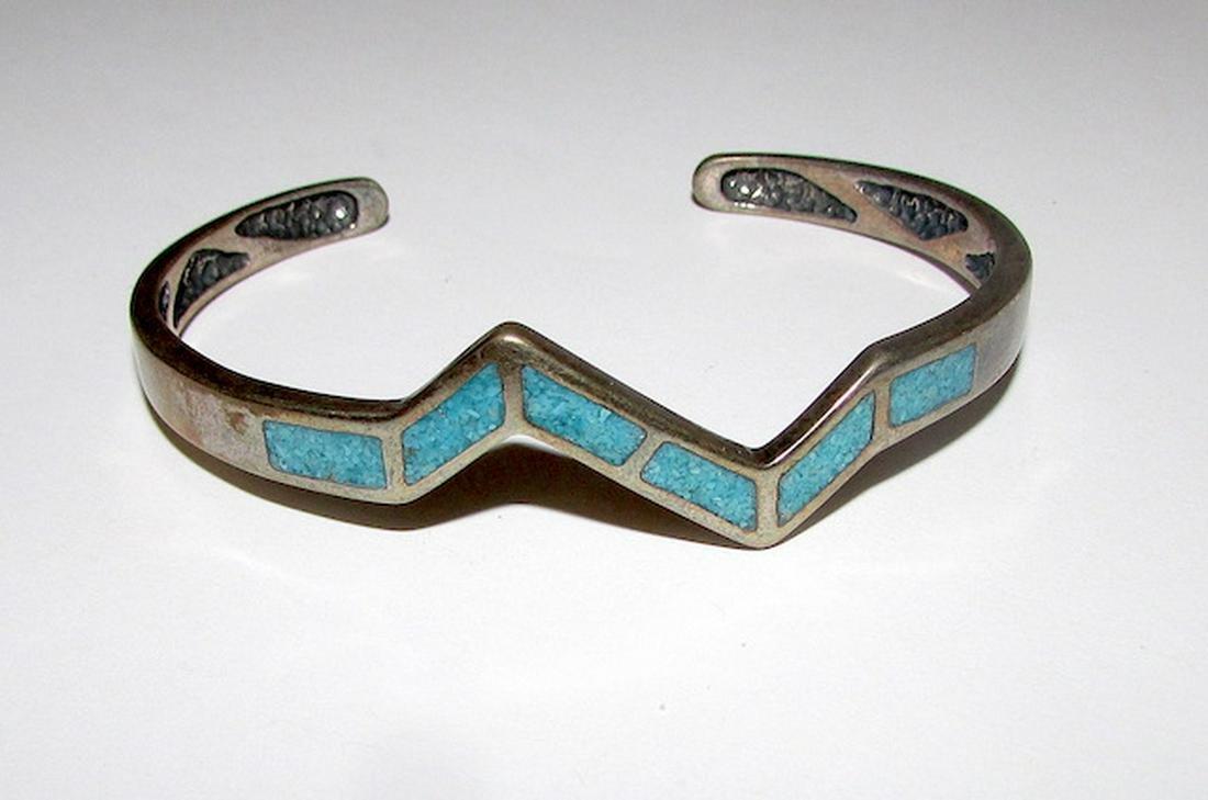 Vintage Navajo Sterling Turquoise Inlay Bracelet