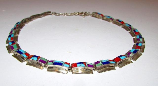 Vinage Navajo Sterling Turquoise Coral Necklace