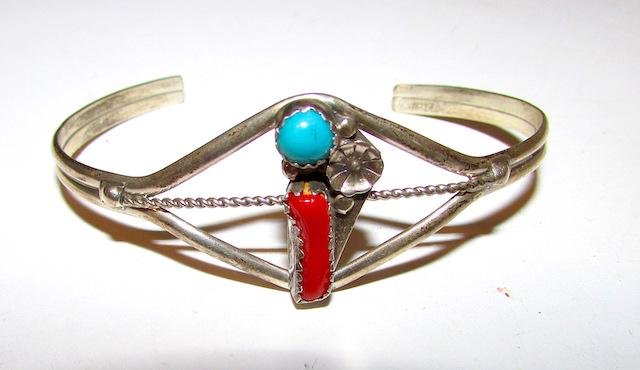 Old Pawn Navajo Sterling Turquoise Coral Bracelet