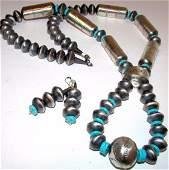 Navajo Pearls Sterling Turquoise Necklace Set