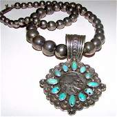 Navajo G Natan Indian Head Coin Sterling Turquoise